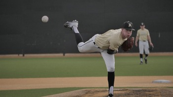Kohl Franklin delivers a pitch during a scrimmage in February.