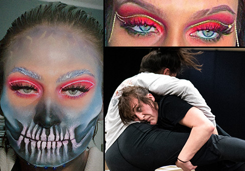 The makeup and wrestling faces of Skyla Walker.